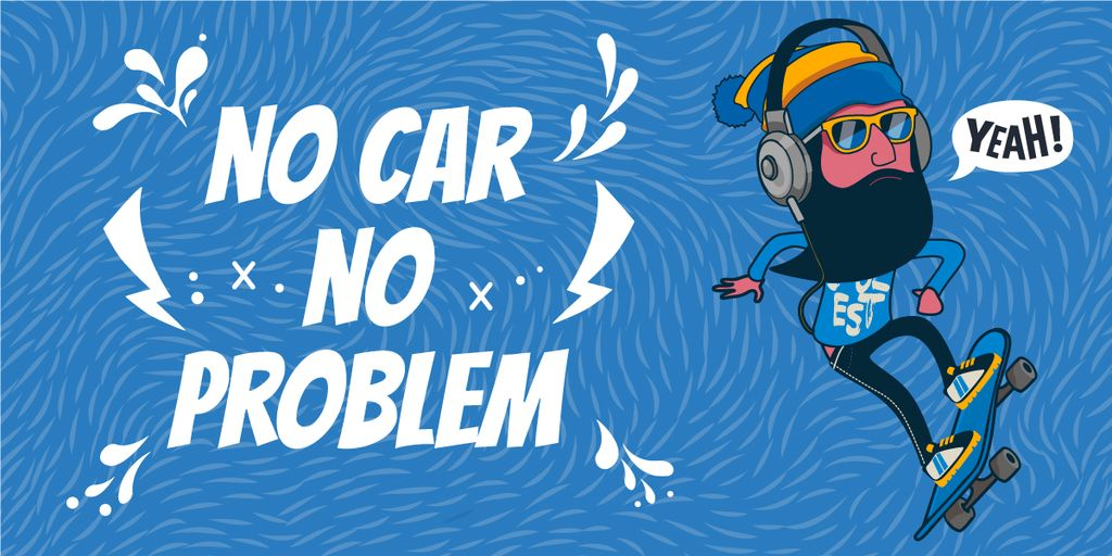 no car no problem illustration with skateboarder – Stwórz projekt