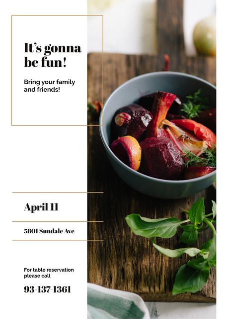 Designvorlage Restaurant Promotion Red Vegetables Dish für Flayer