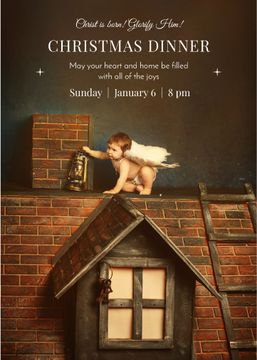 Christmas Dinner Invitation Little Child Angel | Invitation Template