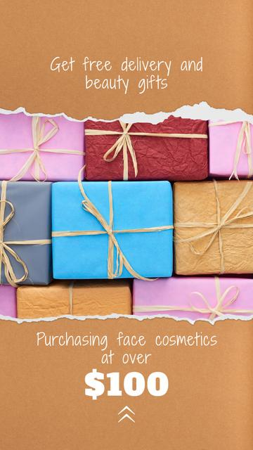 Cosmetics Shop Offer Wrapped Gifts Instagram Story Design Template