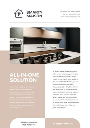 Smart Home Review with Modern Kitchen Newsletter Modelo de Design