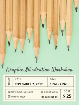Illustration Workshop Graphite Pencils on Blue | Poster Template