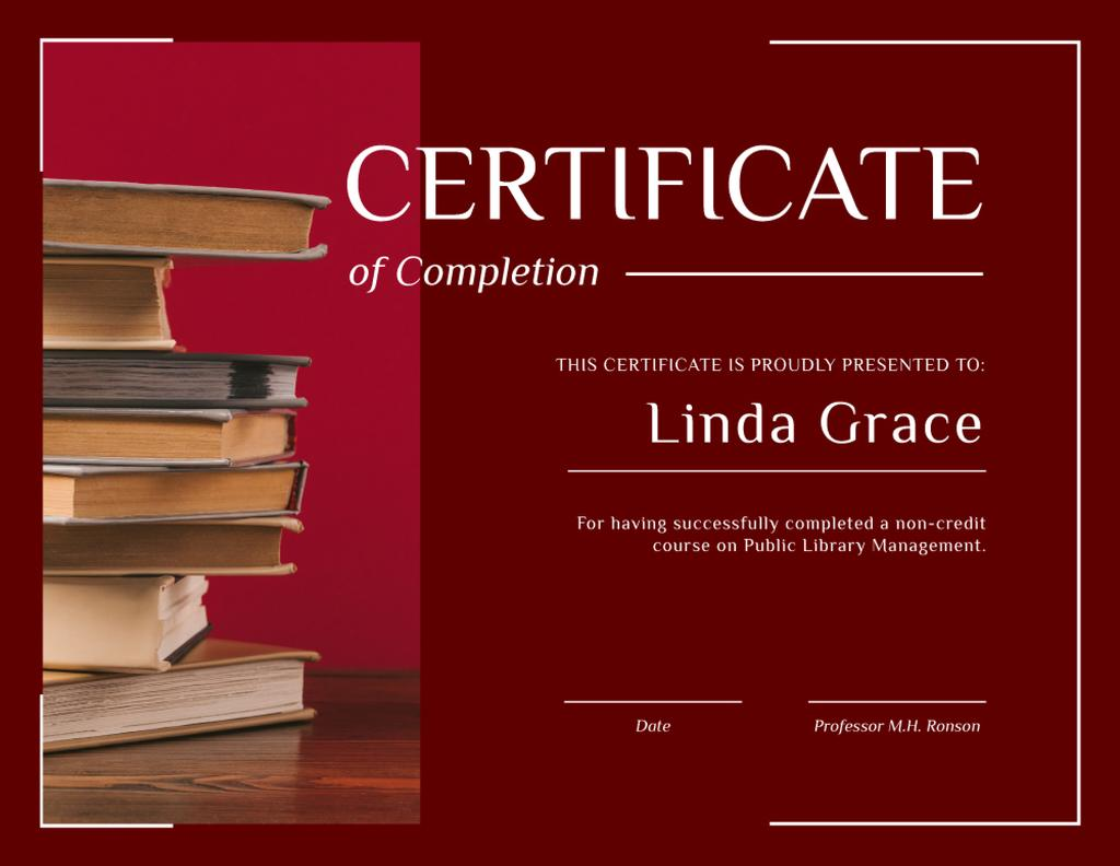 Library Educational Program Completion with books in red — Создать дизайн