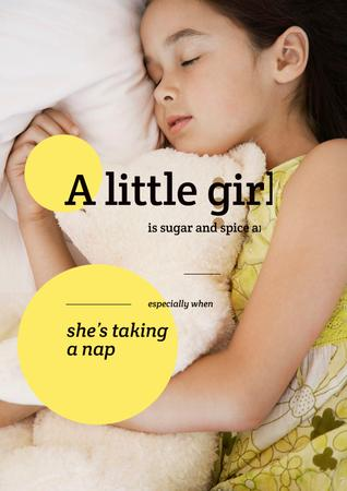 Plantilla de diseño de Cute little girl sleeping Poster
