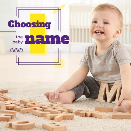 Child playing with letters Instagram Design Template