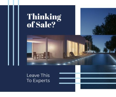 Real Estate Ad Modern House Facade Large Rectangle Design Template