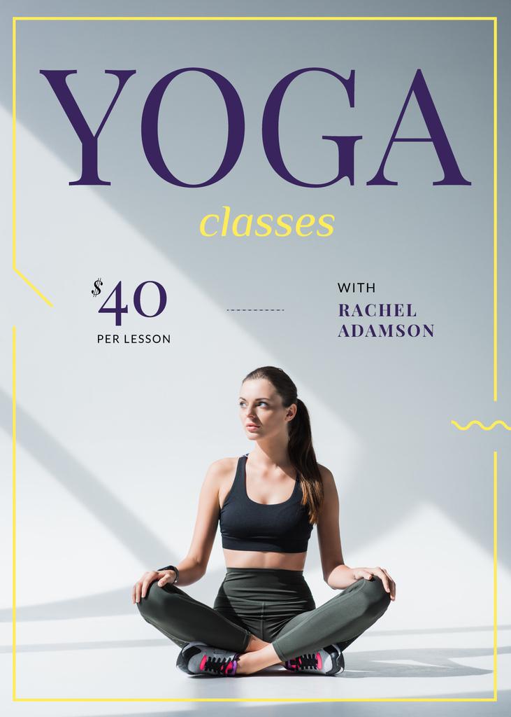 Woman Practicing Yoga on White — Maak een ontwerp
