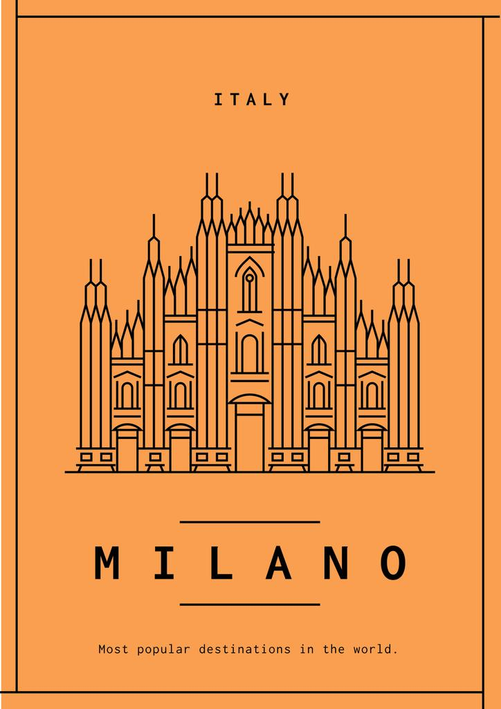 Milano Travelling Orange Poster with Cathedral Graphic — Create a Design