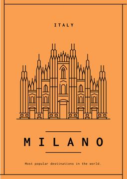 Milano Travelling Orange Poster with Cathedral Graphic