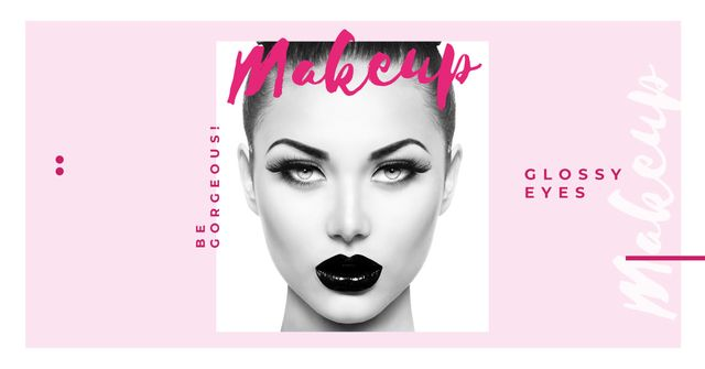 Makeup Ad Young Attractive Woman Face Facebook AD Design Template