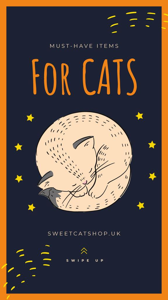 Cute sleeping cat in stars — Crear un diseño