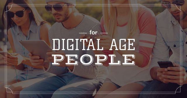 Young people with digital gadgets Facebook AD Design Template