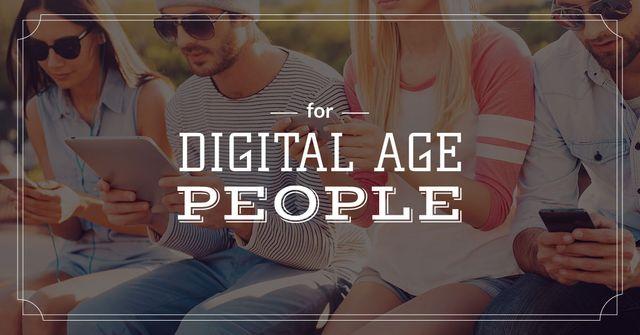 Plantilla de diseño de Young people with digital gadgets Facebook AD