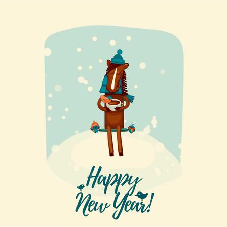 Plantilla de diseño de New Year Greeting with Horse on bench with birds Animated Post