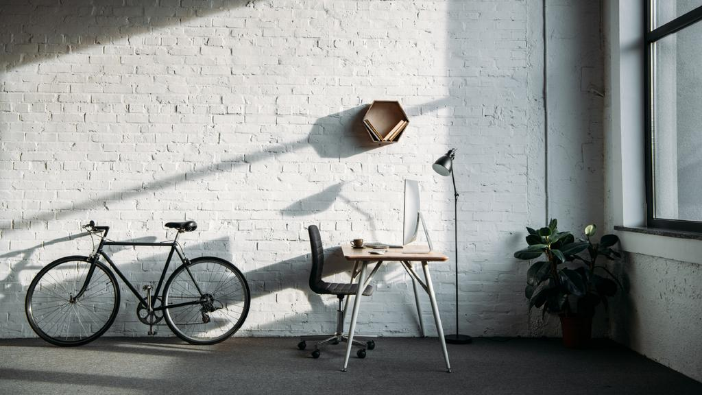 Cozy Home Workplace with Bike and Flower — Create a Design