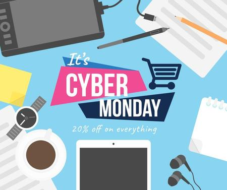 Cyber Monday Sale Devices on Working Table Facebook Modelo de Design