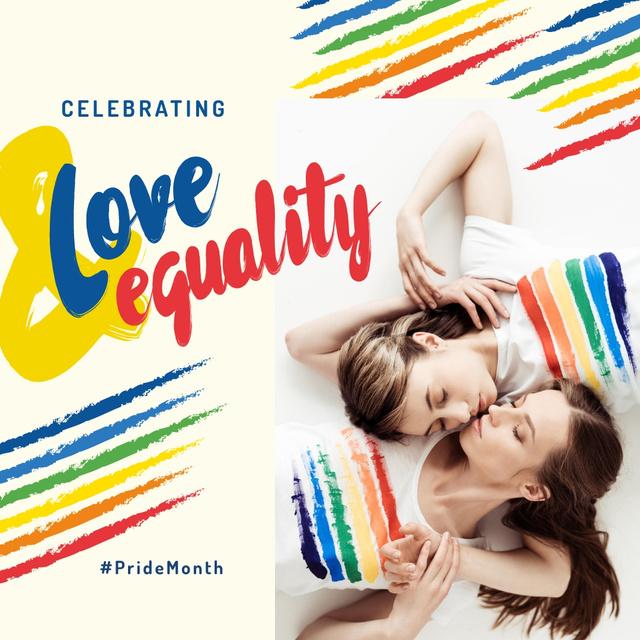 Plantilla de diseño de Pride Month with Two women hugging Instagram