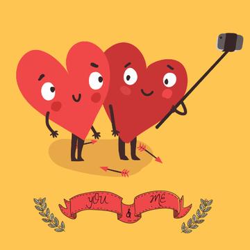 Cute Hearts making Selfie