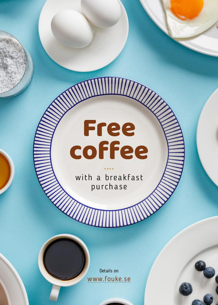 Breakfast Menu Plates on Table Blue and White — Crear un diseño