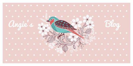 Ontwerpsjabloon van Image van Blog Illustration Cute Bird on Pink