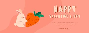 Rabbit with carrot on Valentine's Day