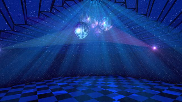 Dance hall with Disco balls Zoom Backgroundデザインテンプレート