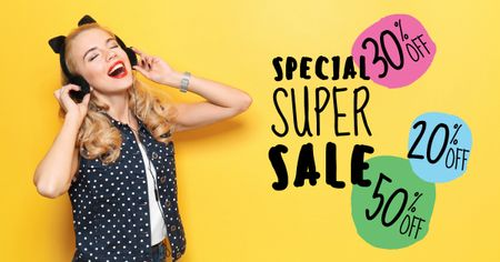 Special super sale with Young Woman in Headphones Facebook AD Modelo de Design
