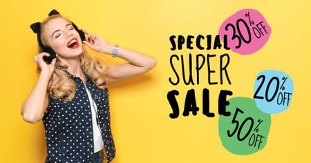 Special super sale with Young Woman in Headphones Facebook AD – шаблон для дизайну
