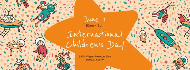 Plantilla de diseño de Kids playing in space on Children's Day Facebook cover