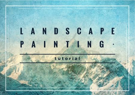 Plantilla de diseño de Mountains Landscape painting Card