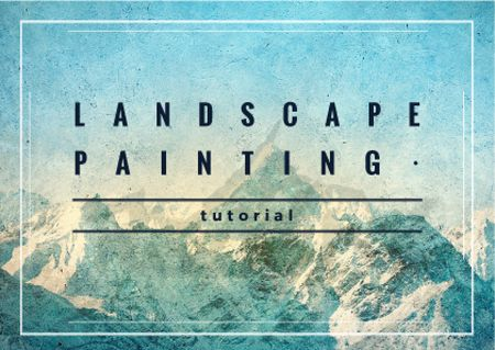Mountains Landscape painting Card Modelo de Design