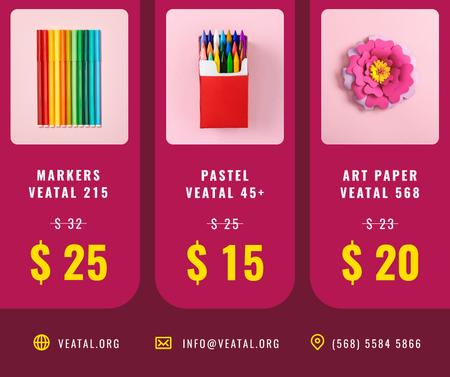 Art equipment and Stationery sale in pink Facebook Modelo de Design