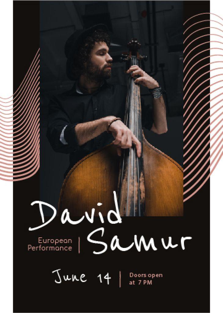 Concert Invitation Musician Playing Double Bass — Создать дизайн