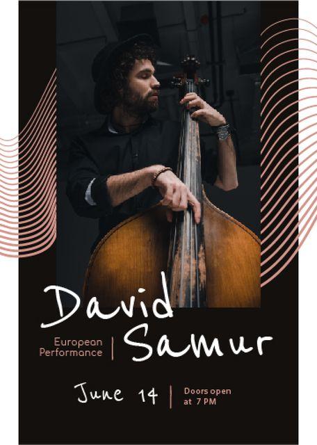 Concert Invitation Musician Playing Double Bass Flayer Modelo de Design