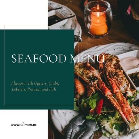 Seafood Dishes on Plate Instagram Design Template