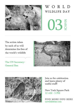 Plantilla de diseño de World Wildlife Day Animals in Natural Habitat Invitation