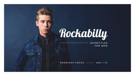 Plantilla de diseño de Man with rockabilly hairstyle FB event cover