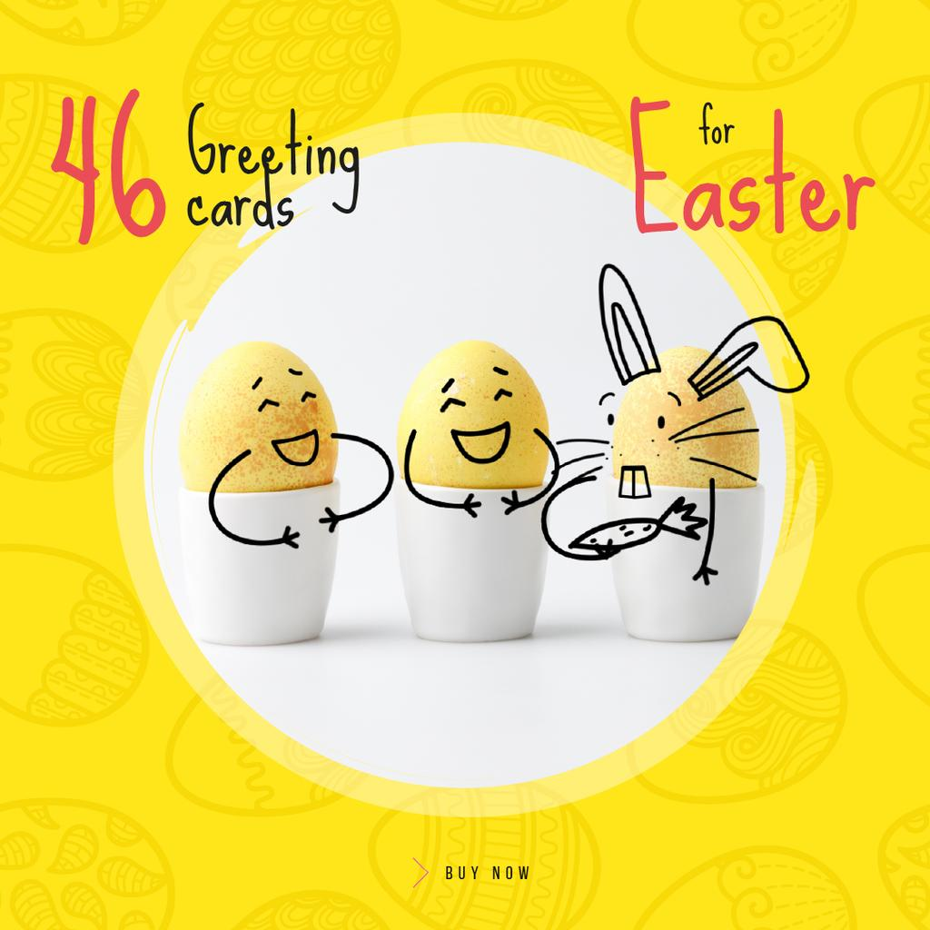 Greeting Cards Offer with cute Easter Eggs — Modelo de projeto