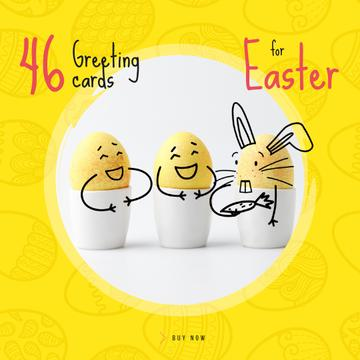 Greeting Cards Offer with cute Easter Eggs