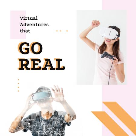 Ontwerpsjabloon van Instagram van People using vr glasses
