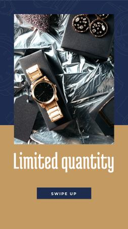 Luxury Accessories Ad with Golden Watch Instagram Story Design Template