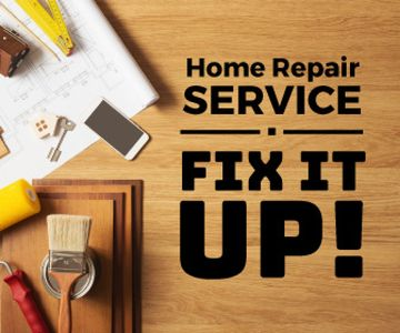 Home Repair Service Ad Tools on Table | Large Rectangle Template