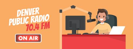 Ontwerpsjabloon van Facebook Video cover van Radio Show Announcement with Presenter