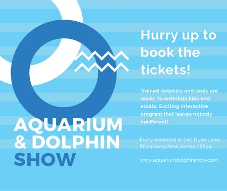 Aquarium Dolphin show invitation in blue Facebook – шаблон для дизайна