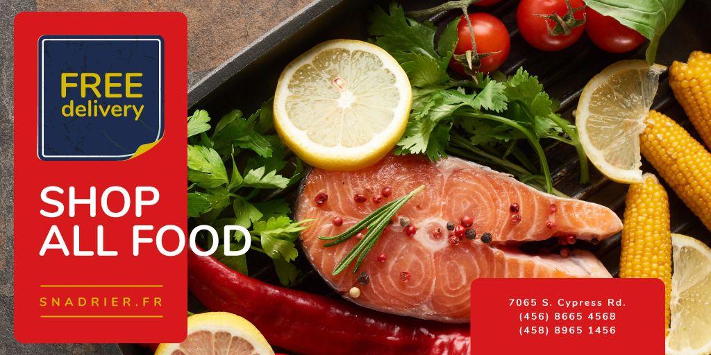 Designvorlage Seafood Offer with Raw Salmon Piece für Twitter