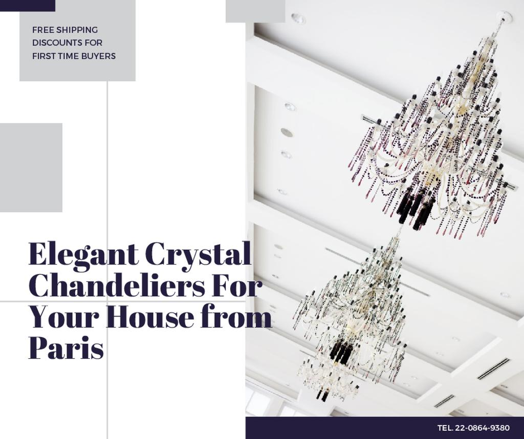 Elegant crystal Chandeliers offer Facebook – шаблон для дизайна