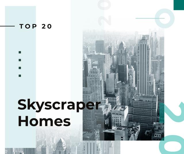 Plantilla de diseño de View of modern city buildings Facebook