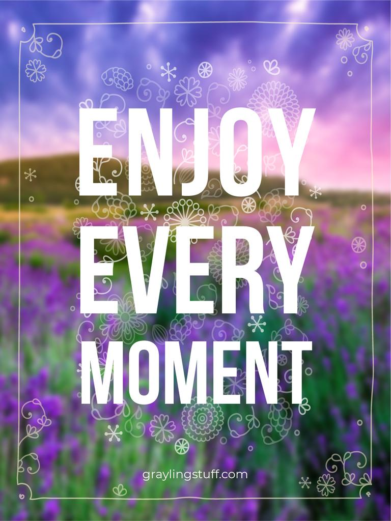 Inspiration Quote in purple Flowers field Poster US Design Template