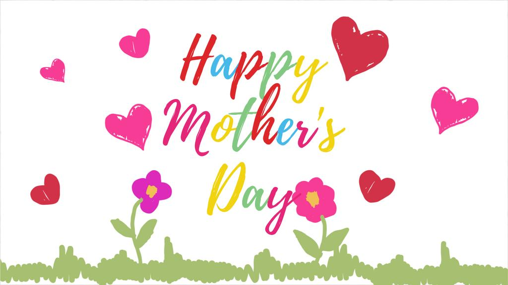 Mothers Day Greeting with Blooming flowers with hearts — Crear un diseño