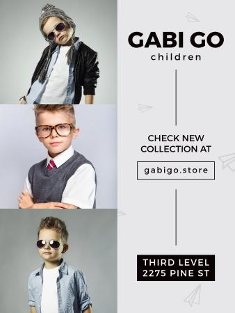 Children clothing store with stylish kids Poster US Modelo de Design
